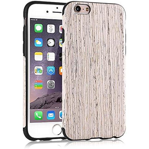 Funda iPhone 6S, Tendlin Carcasa Madera Natural de Flexible TPU Silicona Híbrida Funda para iPhone 6 y iPhone 6s (Nordic Madera de