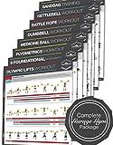 Garage Gym poster laminato, set completo di 8/chart–Strength & cardio training–Core–petto–gambe spalle–posteriore–massa muscolare, tonifica e stringere–45.72cm x 60.96cm