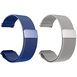 Set of 2 Turnwin Replacement Metal Milanese Loop Bands for LG LGW110 G Watch R Smartwatch (Blue+Silver)
