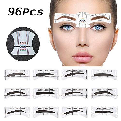 96Pcs Augenbrauen Schablone, Kalolary 48 Pairs Augenbrauen-Form-Aufkleber die Schablonen Augenbrauen Pflege Schablonen Installationssatz mit 6 wiederverwendbaren Schablonen Werkzeugen