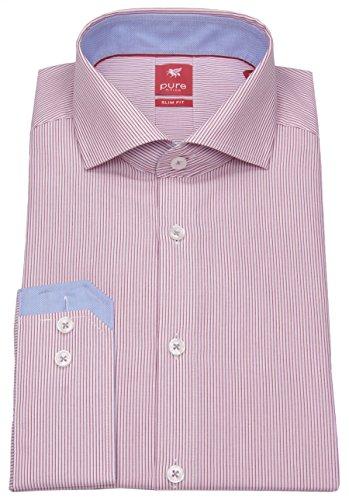Pure Hemd Slim Fit Streifen rot 51501-21703 364, Größe M