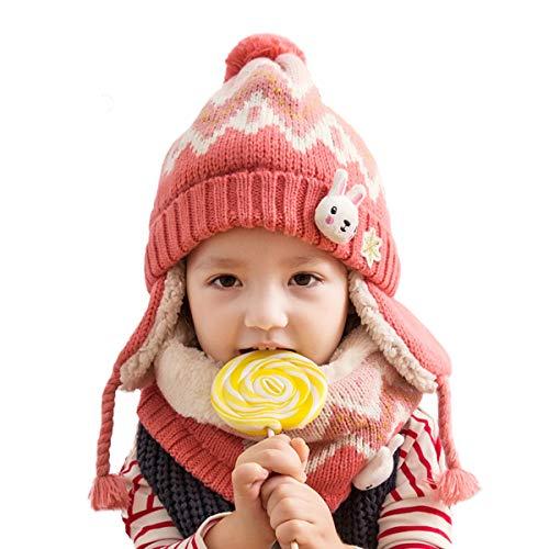 DORRISO Kinder Baby Jungen Mädchen Mütze Schal Set Herbst Winter Frühling Beanie Strickmütze Niedlich Warme Gemütlich Unisex-Baby Wollmütze Rosa