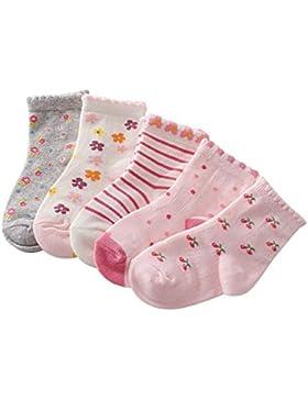 Zetiy Baby Mädchen 5er Pairs Niedliche Fußsocken Erstlingssocken Füßlinge Socken