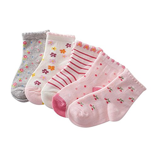 Zetiy Baby Mädchen 5er Pairs Niedliche Fußsocken Erstlingssocken Füßlinge Socken (Rosa, 19-22) (Niedliche Baby-socken)