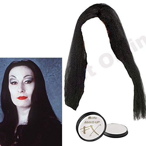Ladies Womens Long Black Wig & White Face Paint Halloween Fancy Dress by Blue Planet Online