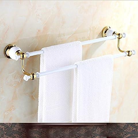 LYNDM Y pintura blanca de latón sólido soporte Toallero doble Toalleros perchas de Pared estante toallas W/ ganchos(#MJG0188)