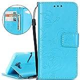 Hülle für Samsung Galaxy A3 2016, ISAKEN PU Leder Brieftasche Wallet Case Ledertasche Handyhülle Tasche Schutzhülle mit Handschlaufe Standfunktion für Samsung Galaxy A3 2016 - Blume Schmetterling Blau