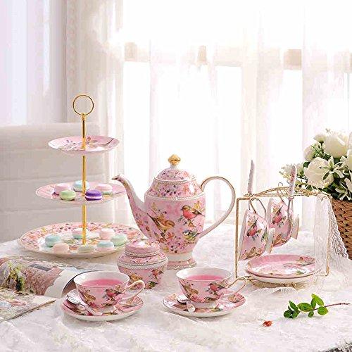 Copas de café del té del vintage Juego de té inglés Juego de té europeo con bandeja Juego de taza de café () Por presente (Color : Pink)