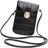 HeHe PU Leder Mini Handytasche Kleine Umhängetasche mit Vielen Fächern für Damen Mädchen Passt iPhone 7 Plus - Schwarz