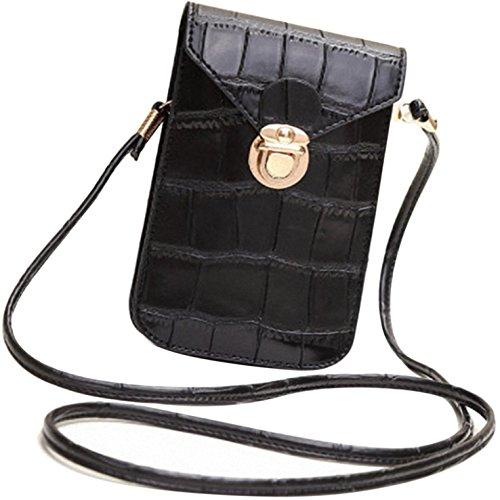 HeHe PU Leder Mini Handytasche Kleine Umhängetasche mit Vielen Fächern für Damen Mädchen Passt iPhone 7 Plus - Schwarz -