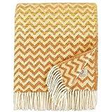 Linen & Cotton Warme Decke Wolldecke Bunt Wohndecke Kuscheldecke Aurora - 100% Reine Neuseeland Wolle, Gelb Senf/Beige (130 x 170cm) Sofadecke/Überwurf/Plaid Couch Sofa/Schurwolle Blanket