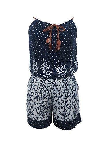 NiSeng Femmes Patterned Playsuit Jumpsuit Shorts Combinaison Sans Manche Casual Short Siamois Bleu