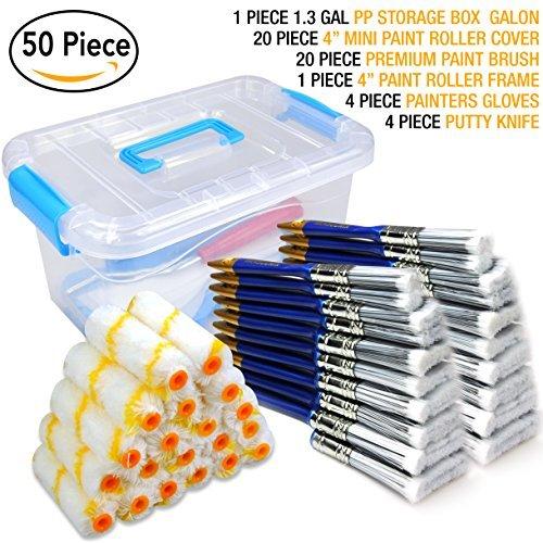 KingORIGIN - Set di 50 pennelli da pittura, rullo, kit per pittura, pennelli, cassetta degli attrezzi