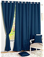 Story@Home Blackout Eyelet 2 Piece Faux Silk Ring top Window Curtain-5 feet