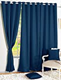 Story@Home Premium Blackout Solid (Pack of 2) Faux Silk Door Curtains (7ft)
