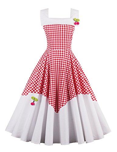 VKStar® 50er Rockabilly Kariert Kleid Petticoat Vintage ärmellos Kirschen Abendkleid Rot XL (Kirsche Roten Kleid)