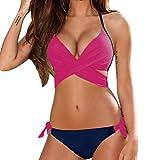 OVERDOSE Damen Push-up gepolsterter BH Badeanzug Bade Frauen Bikini Sets Bademode(HotPink,M
