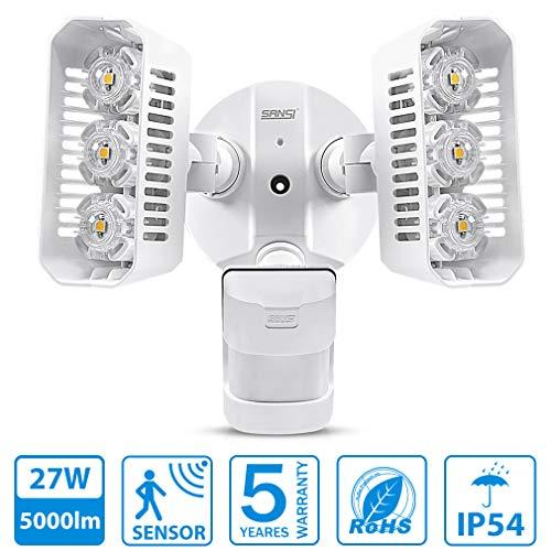 SANSI LED strahler bewegungsmelder 27W kaltweiß Flutlicht IP65 Ersatz 200W 2700lm für Gärten, Dachtraufen, Garagen, Innenplätze -