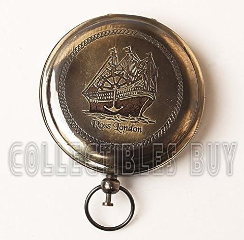 Just Contempo Nautical Ross Londres rond Marine laiton Boussole de poche royal Navigation Appareil Vintage Instruments