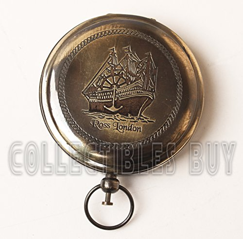 Nautical Ross London Brass Round Pocket Compass Marine Navigational Royal Device Gift Item by Collectibles Buy