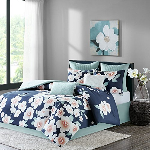 Sakura Baumwolle Tröster Set 8teilig marineblau Queen