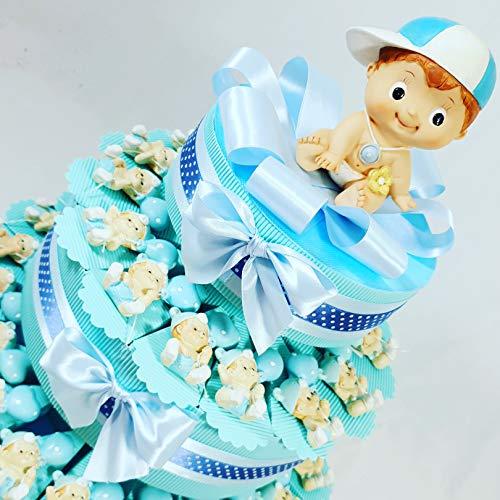 bomboniere Battesimo Nascita Bimbo Magnete confezionato a Torta o a Sacchetto Completi di Confetti al Cioccolato crispo B9295 ... * (Torta 35 fette 3 Piani)