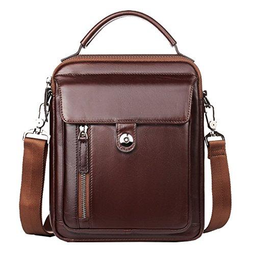 Yy.f Shoulder Messenger Bag Leder Businesstaschen Reisetaschen Herrenmode Handtaschen,Brown-20*5*24cm