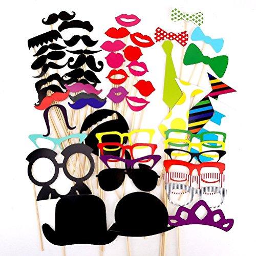 WINOMO 54-in-1 DIY lustige bunte Gläser Schnurrbart roten Lippen Fliege Hüte auf Sticks Hochzeit Geburtstag Party Foto Booth - Diy Halloween-kulisse