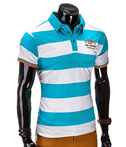 BetterStylz TurfZ Poloshirt Streifen Polohemd Slim Fit Kurzarm Hemden versch. Farben (S-XXL) Türkis/Weiß
