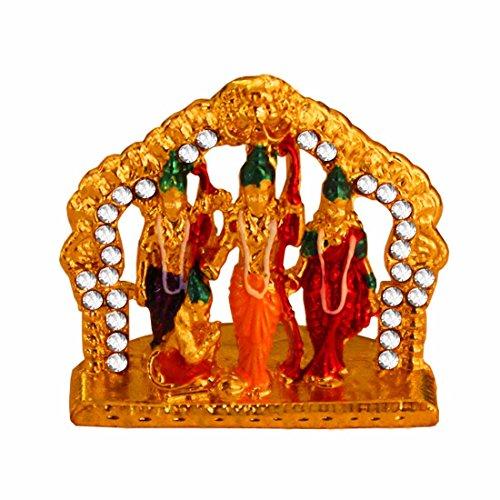 Indian Handicraft Showpiece Murti Ramdarbar Ram Sita Laxman Hanuman Statue Showpiece - 4.5 cm (Alloy, Multicolor)
