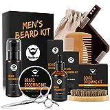 Kit Cuidado de Barba,MayBeau Bálsamo Barba,Barba Champú, Peine para Barba,Tijeras Barba Juego de regalo perfecto para hombres (8 en 1)
