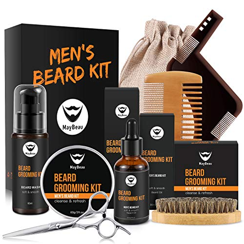 MayBeau, kit di balsamo da barba, 8 pezzi, kit per la cura della barba, da uomo, con olio da barba, balsamo per la barba, pettine in legno, forbici per la cura della barba