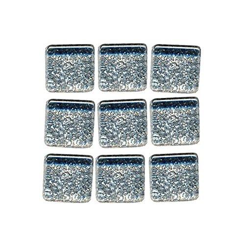 MosaixPro 10x 10x 4mm große, Silberne Glasfliesen mit Glitzer, in Einer 200g Packung mit 215 Teilen - Glas-mosaik-grenze