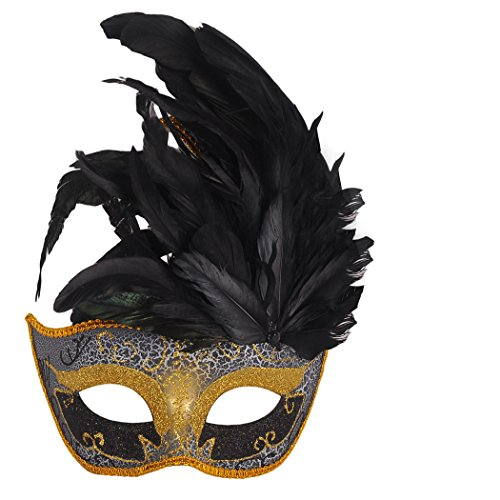Maske Feder Maskenball (Venezianische Maske, Coofit Maskenball Masken Feder Maske Damen Masquerade Maske Venedig Maske Maskerade Maske)