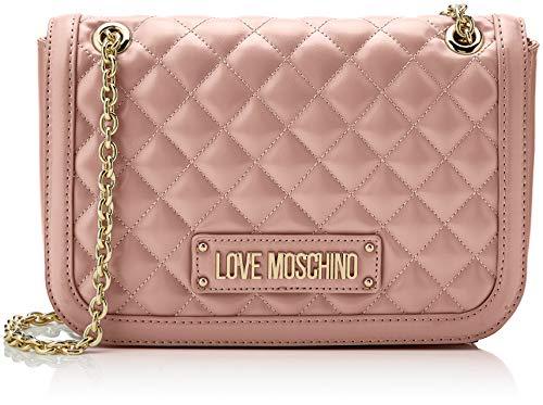 Love moschino quilted nappa pu, borsa a spalla donna, (rosa), 15x10x15 cm (w x h x l)