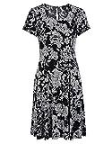 STEILMANN by Adler Mode Damen Jerseykleid mit Rosendruck und schwingender Saumweite - Sommerkleid, Coktailkleid, Businesskleid, Stoffkleid Schwarz/Weiß 46