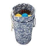 Luxja Stricktasche Aufbewahrung, Handarbeitstasche Häkeln, Wolle Tasche für Garn Stränge, Häkelnadeln, Stricknadeln (bis 14 Zoll) und Andere Kleines Zubehör