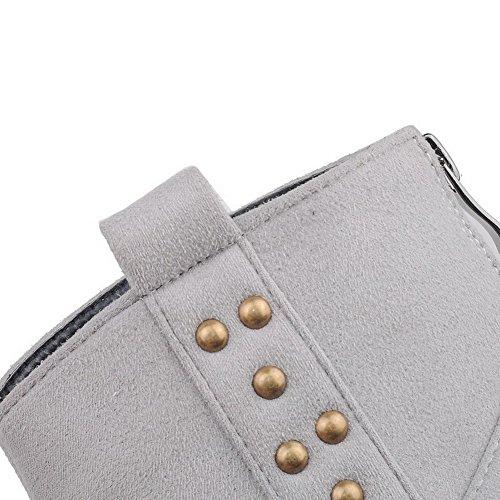 VogueZone009 Damen Niedriger Absatz Niedrig-Spitze Reißverschluss Stiefel Grau