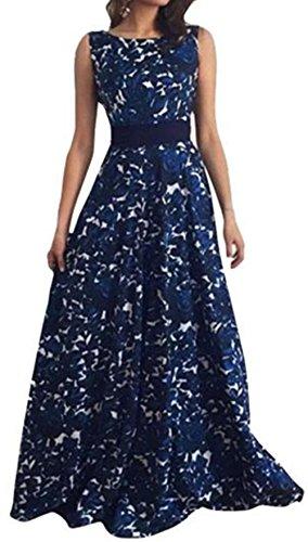 WOCACHI Frauen Blumen lange formale Abschlussball Kleid Partei ...