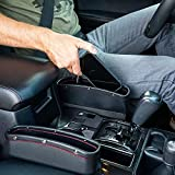 Lukzer 1 PC Leather PU Car Console Side Storage Organizer Seat Gap Filler Pockets Catch Caddy (Black)