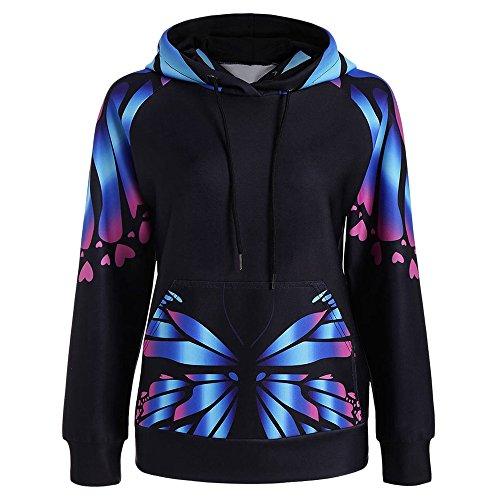 ZAFUL Women's Butterfly Print Plus Size Kangaroo Sweatshirts Hoodie Sports Oversize Outerwear Pullover Autumn(BLAU 54) (Hoodie Butterfly Sweatshirt)