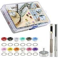 LIHAO360 Ösen Set mit Werkzeug Grommet Kit Ösensatz mit Tüllen Einstellwerkzeug für Schnürsenkel Kleidung Leder