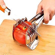 Best utensili pomodoro affettatrice limone cutter pinza multiuso frutta tondo in acciaio INOX 18/8Onion Holder Easy affettare kiwi frutta & verdura utensili da cucina tagliere aiuto, lavabile in lavastoviglie