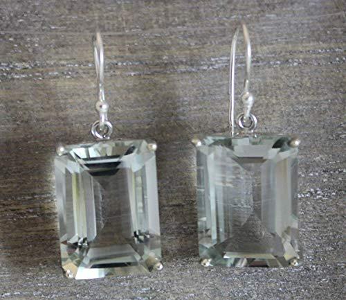 Chunky Prasiolith Grün Amethyst Smaragd Cut 925 Sterling Silber Ohrhaken Ohrringe