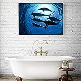 Wandkunst Hai Delphin Leinwand Malerei Poster Wand Wohnzimmer Bild Dekoration (kein Rahmen) A2 30x40 cm