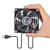 ELUTENG USB auf Lüfter 80mm Gehäuselüfter Klein PC Ventilator DC 5V Fan für TV Box, Router, XBox oder PC Computer Radiator Cooler mit Schutzgitter