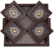 ROSHNI by Sunita Bali Tray in Brocade Silk with Wooden Frame with Matching Coasters with Zardozi Embroidery (B