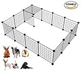 langxun Metalldraht Lagerung Cubes Organizer, DIY Kleintierkäfig für Kaninchen, Meerschweinchen, Welpen | Pet Products Portable Metalldraht Yard Fence (schwarz, 16 Panels)