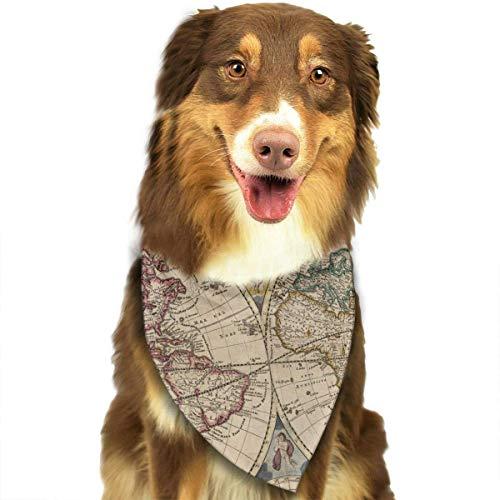 Osmykqe World Map Retro Hund Bandana Pet Schal für kleine mittelgroße Hunde Zubehör -