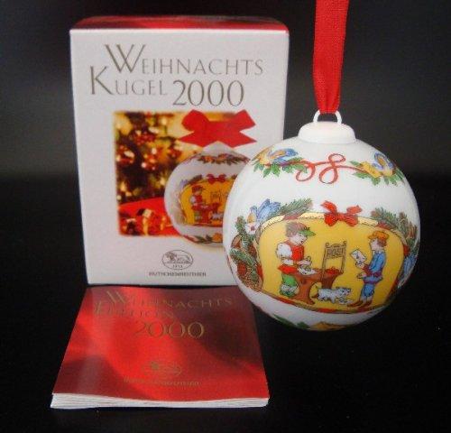 Hutschenreuther Weihnachtskugel 2000*Rarität, Baumkugel, Porzellankugel, Anhänger, Baumanhänger, Baumschmuck, Weihnachten -